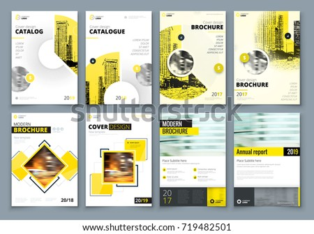 cover design set yellow corporate business のベクター画像素材