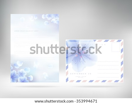Cover design template letterhead Floral Paper blue soft Cover. Vector editable template - stock vector