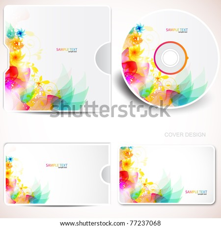 Cover design template of disk and business card. Floral Design - stock vector