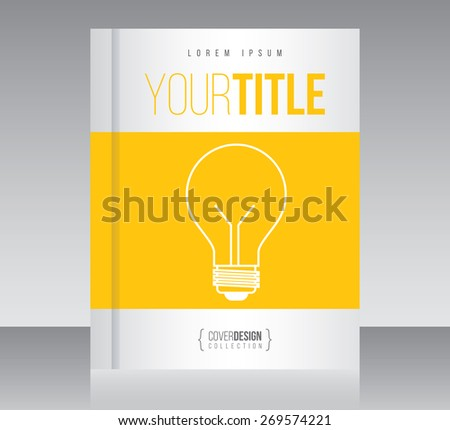 Cover design vector template with light bulb, minimal style - stock vector