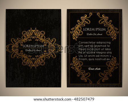 vintage gold frame designs can be stock vector 81644710