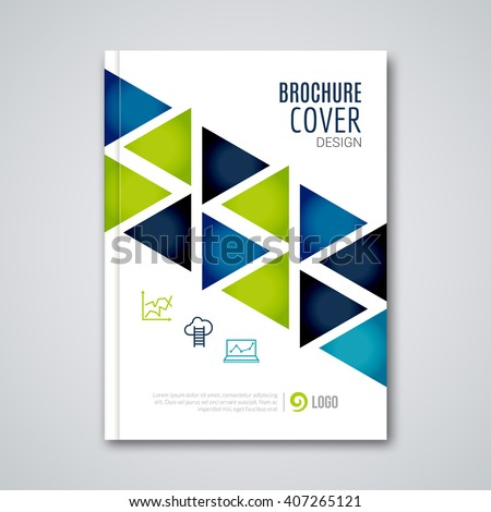 Cover flyer report colorful triangle geometric prospectus design background, cover flyer magazine, brochure book cover template layout, vector illustration. - stock vector