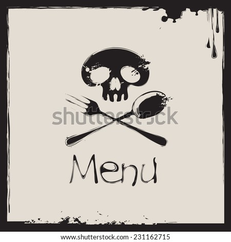 Cover for a menu with a human skull with a spoon and fork - stock vector