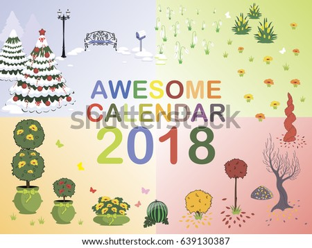 Cover Awesome Calendar 2018 4 Seasons Stock Vector 639130387 ...