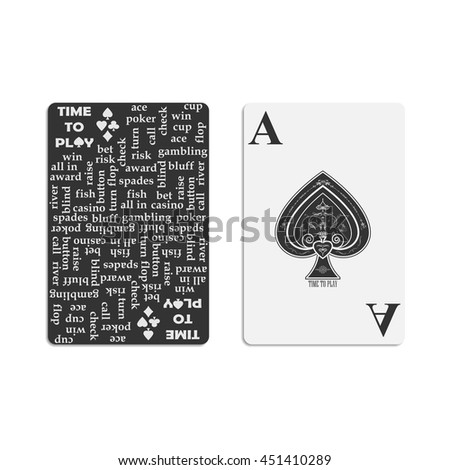 Cover for the deck of poker cards. Ace of Spades. - stock vector