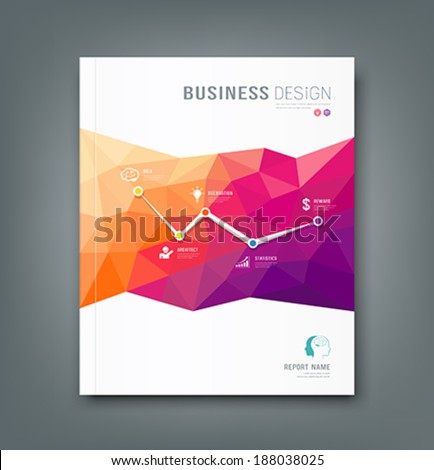 Cover Magazine geometric shapes info-graphic for business design background, vector illustration - stock vector