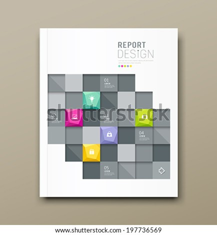 Cover Magazine Modern squares template for business design background, vector illustration