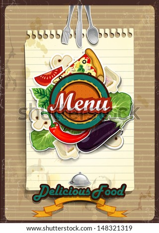 Cover menu with sheet of paper where you write the ingredients -Vintage effects can be removed-transparency blending effects and gradient mesh-EPS10 - stock vector