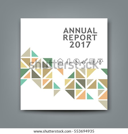 Cover new annual report colorful triangle design on white background, vector illustration