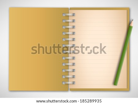 Cover Notebook and pencil Vector
