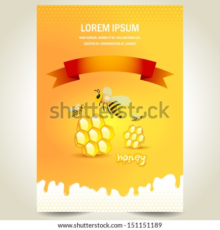 cover poster face honey mead bee honeycomb white yellow background - stock vector