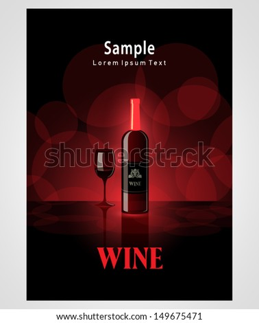 cover poster face wine red vine bokeh background - stock vector
