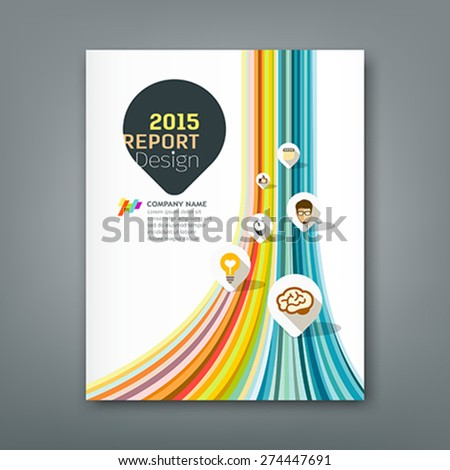Cover report colorful lines shapes info-graphic with point markers icons design background, vector illustration