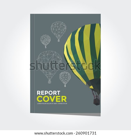 Cover report hot air balloon pattern vector - stock vector