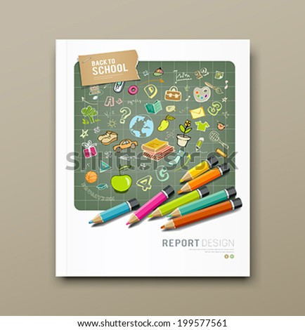 Cover report sketch hand drawn education icons and colorful pencils design background, vector illustration - stock vector