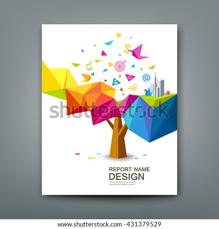 Cover report tree colorful geometric with bird paper with business icons concept design background, vector illustration - stock vector