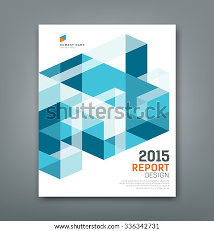 Cover report triangle and square geometry abstract new design blue background, vector illustration