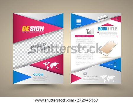 Cover template front and back with smartphone. Abstract Modern Backgrounds, Infographic Concept. Vector illustration. Can use for cover magazine, presentation , webpage , printing advertising. - stock vector