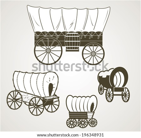 Covered Wagons - stock vector