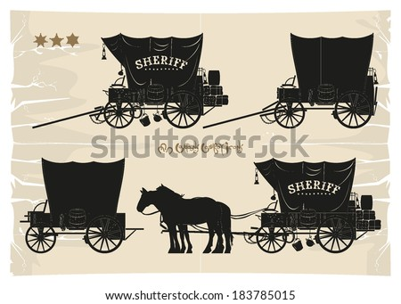 Covered wagons cowboy sheriff, vector - stock vector