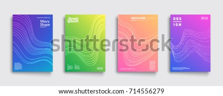 Covers with geometric design. Cool modern gradients with wavy patterns. Applicable for Banners, Placards, Posters, Flyers and Designs. Eps10 vector template.