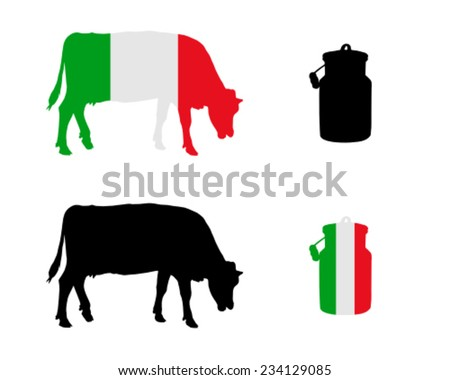 Cow and milk can - stock vector