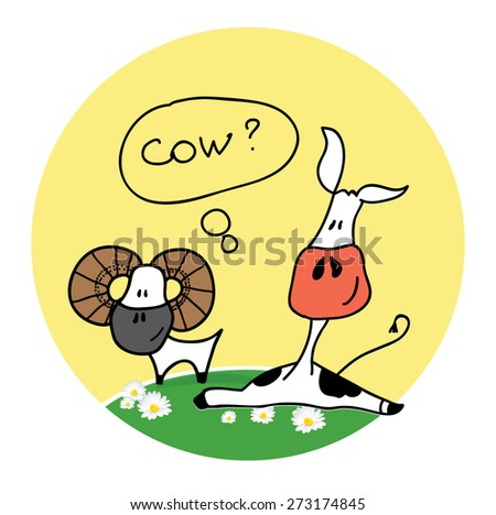 cow and sheep - stock vector