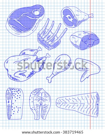 Cow beef pork chicken salmon fish trout animals natural meat cut cutting parts chop diagram scheme rib steak. Vector vertical beautiful illustration blue pen outline closeup sign signboard cell sheet