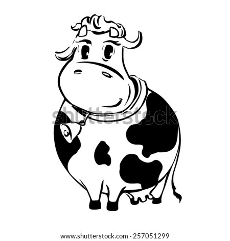 cow black and white - stock vector