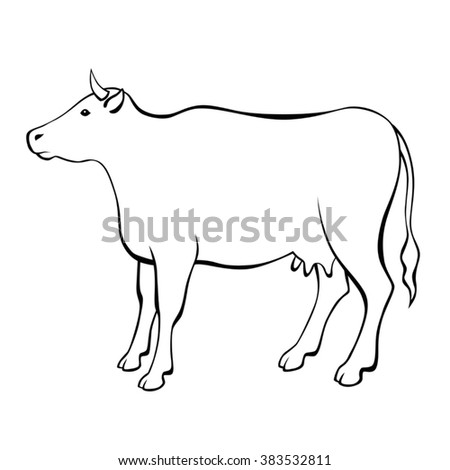 Cow black white isolated illustration vector - stock vector