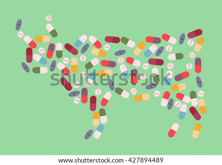 Cow by  drug pills concept. Vector illustration for antibiotic resistance, modern pharmacology in cattle breeding, excessive medication of domestic animals - stock vector