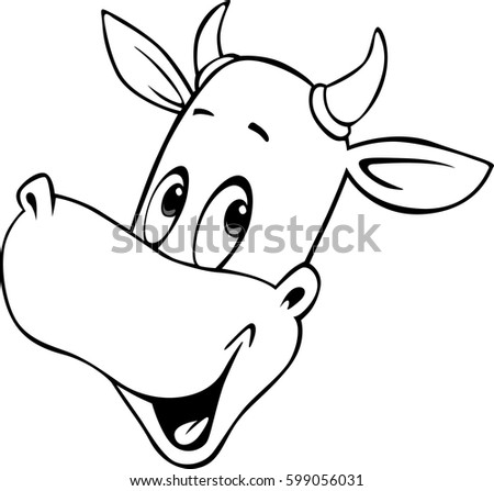 cow cartoon head - black and white vector outline illustration