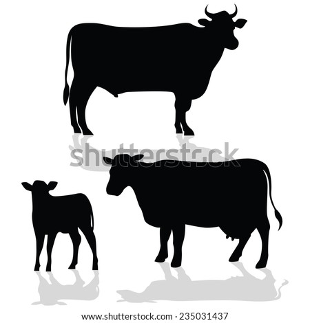 cow family silhouette shadow stock vector 235031437
