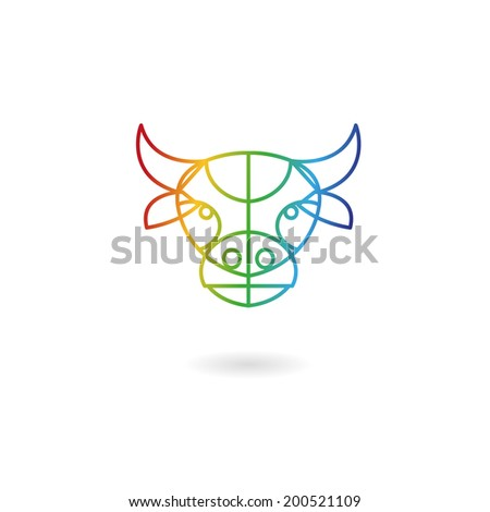 Cow head abstract isolated on a white backgrounds - stock vector
