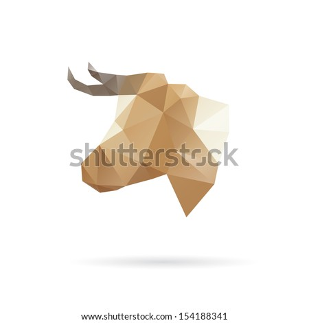 Cow head abstract isolated on a white backgrounds, vector illustration - stock vector