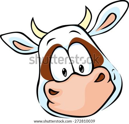 cow head cartoon - vector illustration - stock vector