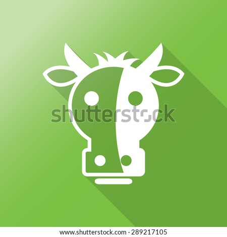 cow head flat icon with long shadow. - stock vector
