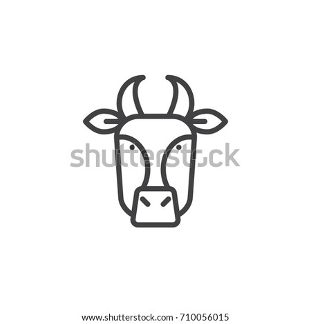 Cow head line icon, outline vector sign, linear style pictogram isolated on white. Symbol, logo illustration. Editable stroke