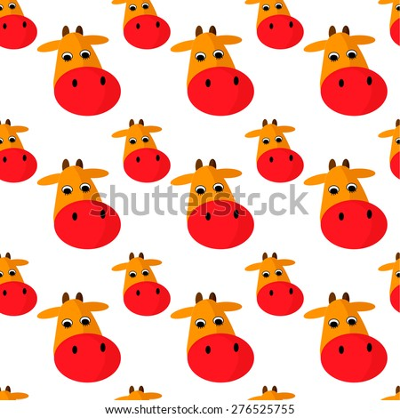 Cow head vector cartoon style. Seamless pattern. - stock vector
