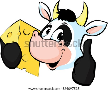 Cow hold Cheese - Vector illustration - stock vector