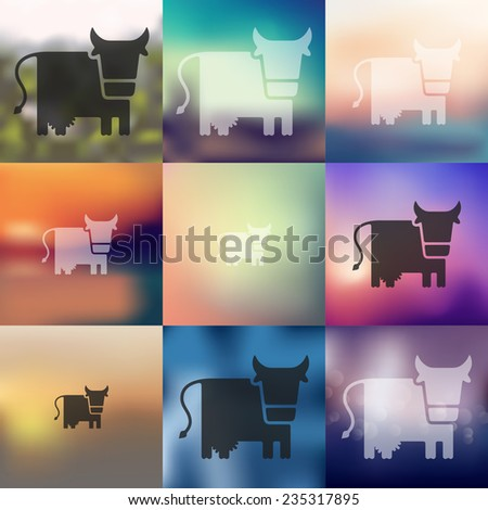 cow icon on blurred background - stock vector