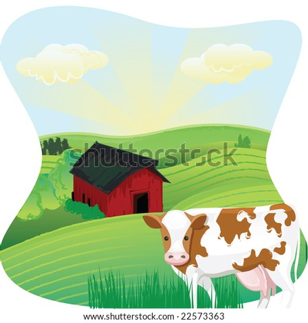 Cow in a Meadow - stock vector
