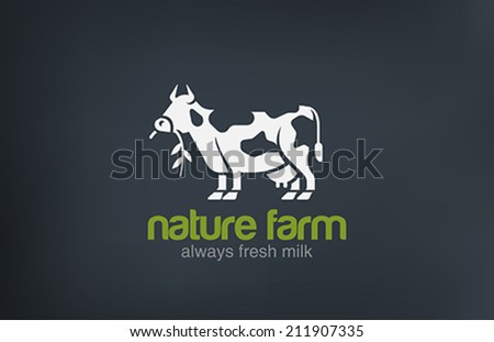 Cow Logo silhouette vector design template. Fresh Natural Milk Farm Logotype concept icon. - stock vector