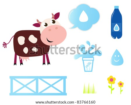 Cow, Milk and Dairy icons collection isolated on white Milk, food and nature icons - Vector cartoon Illustration - stock vector
