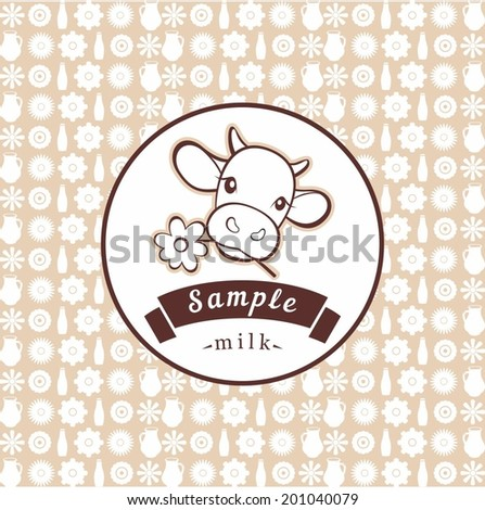 cow milk label - stock vector
