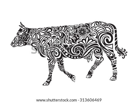 Cow ornament vector. Cow drawing with floral ornament decoration.  - stock vector