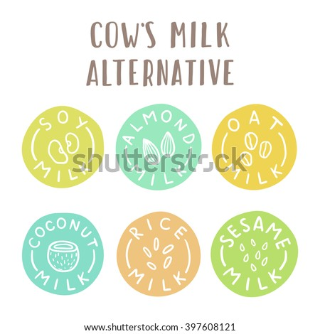 Cow's milk alternative. Set of 6 plant-based milk labels
