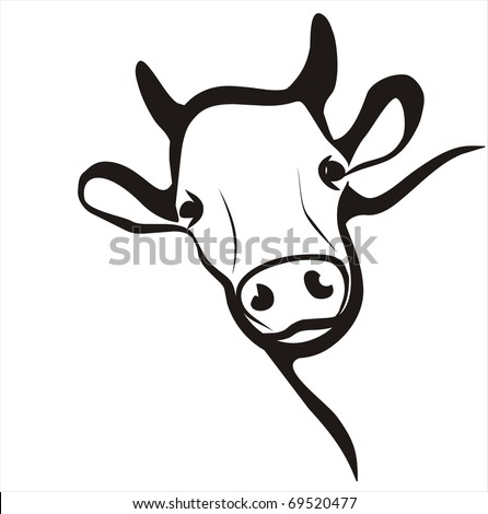 cow simple icon in black lines - stock vector