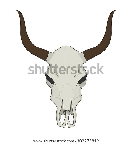 Cow skull. Wild west dead longhorn head color western vector illustration isolated on white