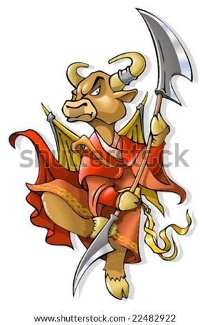 Cow, symbol of coming year, chinese horoscope, vector illustration - stock vector